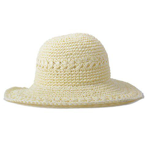 Chic Hollow Out Candy Color Women's Summer Straw Hat - MILK WHITE