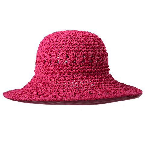 Chic Hollow Out Candy Color Summer Straw Hat For Women - ROSE