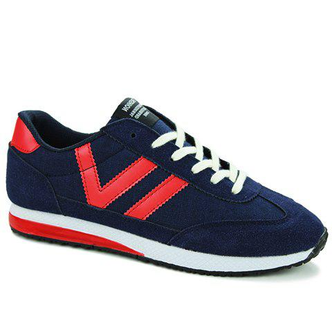 Leisure Color Matching and Lace-Up Design Men's Athletic Shoes - BLUE 41