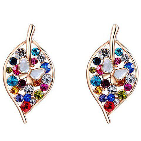 Pair of Chic Colorful Rhinestone Leaf Earrings For Women - COLORMIX