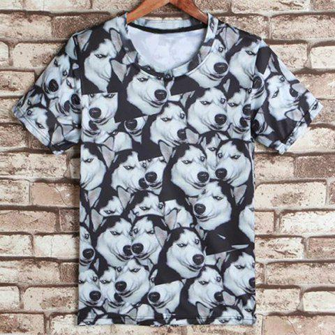 Round Neck 3D Dog Print Short Sleeves Men's Funny T-Shirt - S COLORMIX