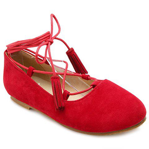 Fashionable Round Toe and Tassels Design Women's Flat Shoes - RED 36