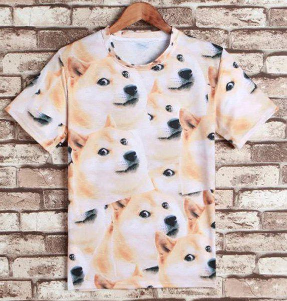 Funny Dog Print Round Neck Short Sleeves Men's 3D T-Shirt - M COLORMIX