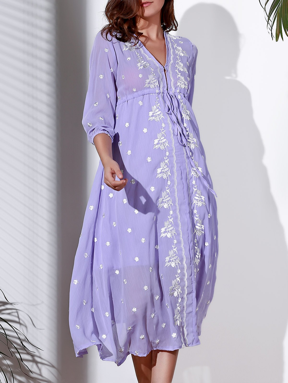 Refreshing Embroidered Plunging Neck 3/4 Sleeve Midi Dress For Women - LIGHT PURPLE M