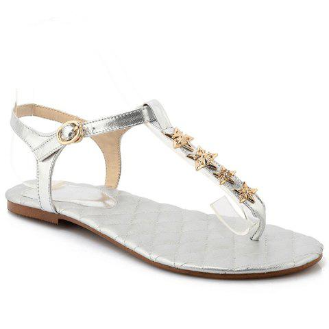Fresh Style Rivets and Flip Flops Design Sandals For Women - SILVER 39