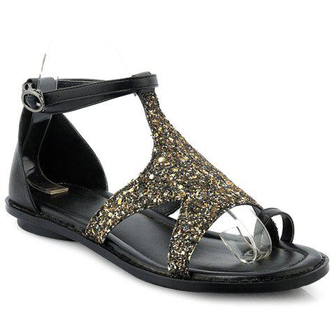 Casual Sequins and Toe Ring Design Sandals For Women - GOLDEN 39
