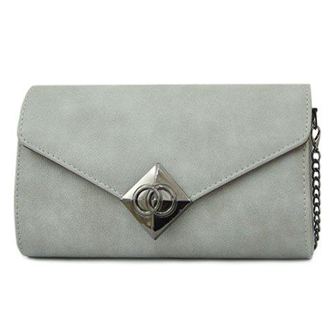 Simple Metal and Chains Design Crossbody Bag For Women -  GRAY