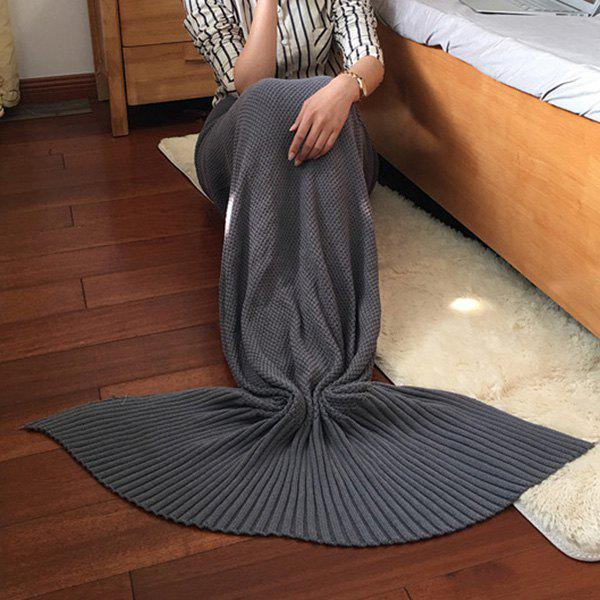 2016 New Style Stylish Cotton Knitting Summer Mermaid Shape Blanket - GRAY