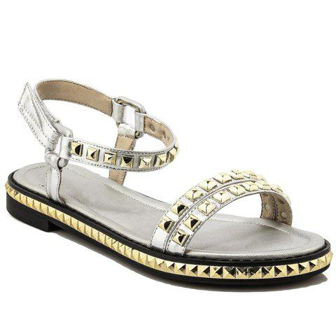 Casual  and Rivets Design Sandals For Women - SILVER 36