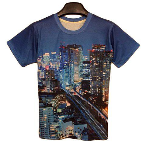 Fashion Round Neck 3D City Night View Men's Short Sleeves T-Shirt - COLORMIX L