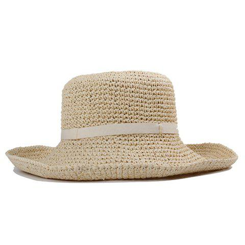 Chic Faux Belt Embellished Flanging Women's Summer Straw Hat - OFF WHITE