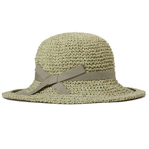 Chic Lace-Up Embellished Folding Summer Straw Hat For Women - PEA GREEN
