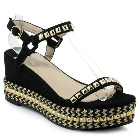 Casual Rivets and Wedge Heel Design Sandals For Women - BLACK 38