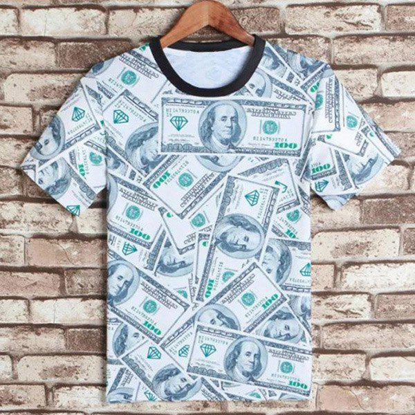 Casual Round Neck American Bill Print Short Sleeves Men's 3D T-Shirt - COLORMIX M