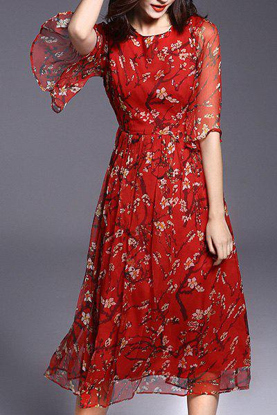 Bohemian Style Women's Round Collar Floral Print Half Sleeve Midi Dress - RED M