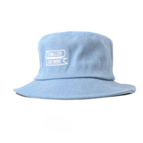 Chic Letters Embroidery Flat Top Denim Fabric Bucket Hat For Women - LIGHT BLUE