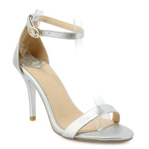 Graceful Ankle Strap and PU Leather Design Sandals For Women - SILVER 39