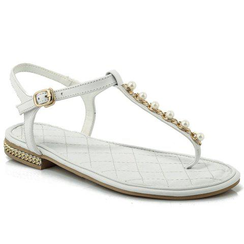 Sweet Flip Flops and Beading Design Sandals For Women - WHITE 39