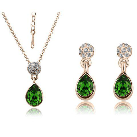A Suit of Water Drop Faux Crystal Necklace and Earrings - GREEN