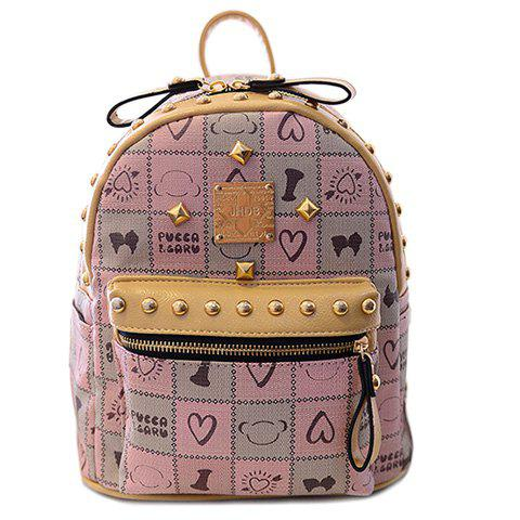 Trendy Rivets and Plaid Design Women's Backpack - PINK