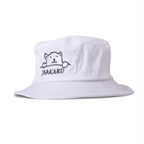 Chic Cartoon Bear and Letters Embroidery Flat Top Bucket Hat For Women - WHITE