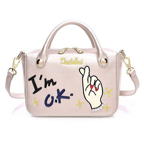 Cute PU Leather and Monogram Design Tote Bag For Women - CHAMPAGNE GOLD