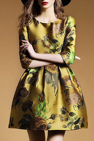 Retro Style Women's Round Collar Embroidery 3/4 Sleeve Dress - GINGER L