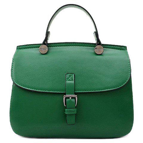 Retro Buckle and Solid Color Design Women's Tote Bag - GREEN