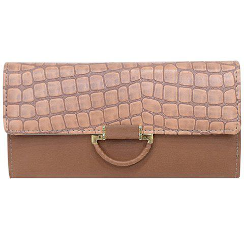 Fashion PU Leather and Crocodile Print Design Clutch Bag For Women - APRICOT