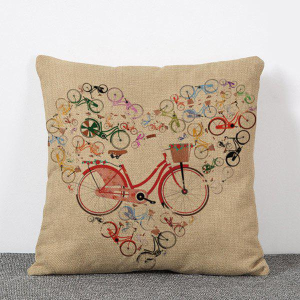 Sweet Colorful Bicycle Pattern Pillow Case(Without Pillow Inner)