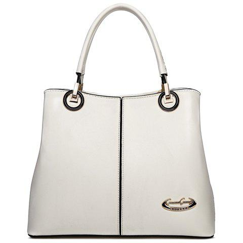 Office Style Solid Colour and Zipper Design Tote Bag For Women - WHITE
