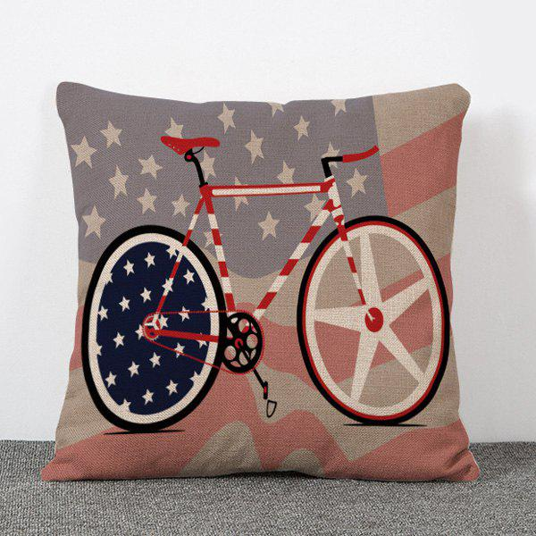 Chic Quality Stars and Bicycle Pattern Flax Pillow Case(Without Pillow Inner)