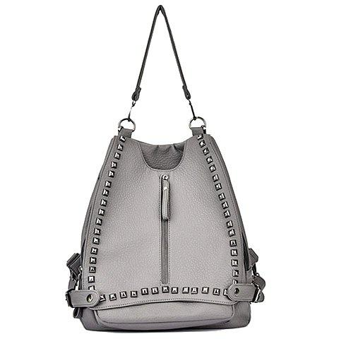 Trendy Rivets and PU Leather Design Shoulder Bag For Women - SILVER