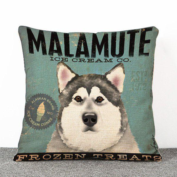 Fashion Husky Dog Pattern Flax Pillow Case(Without Pillow Inner)