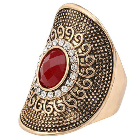 Rhinestone Faux Gem Ring - RED ONE-SIZE