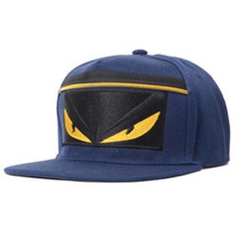 Chic Cartoon Embroidery and Zipper Embellished Women's Baseball Cap - CADETBLUE
