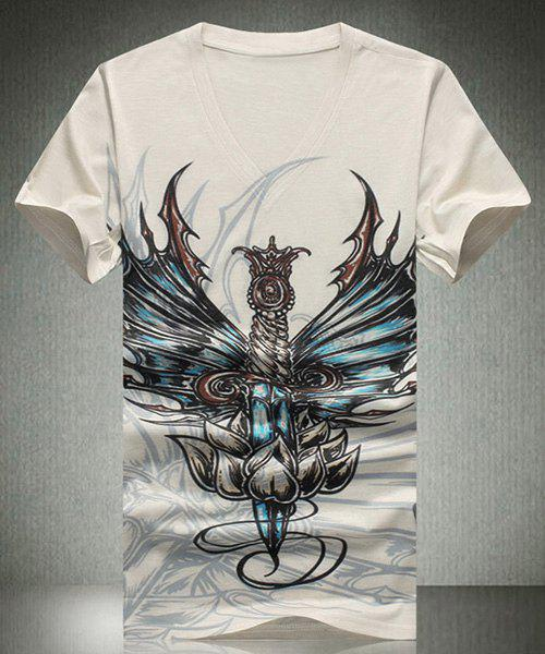 3D Abstract Pattern V-Neck Short Sleeves Men's T-Shirt - OFF WHITE L