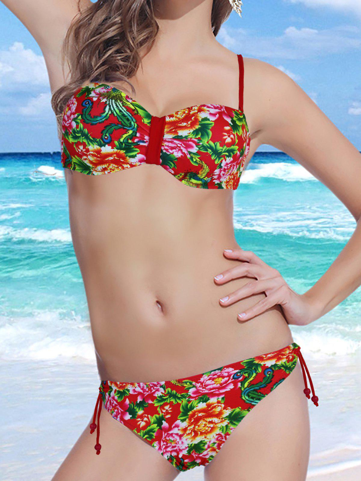 Stylish Spaghetti Strap Backless Floral Print Underwire Women's Bikini Set - RED M