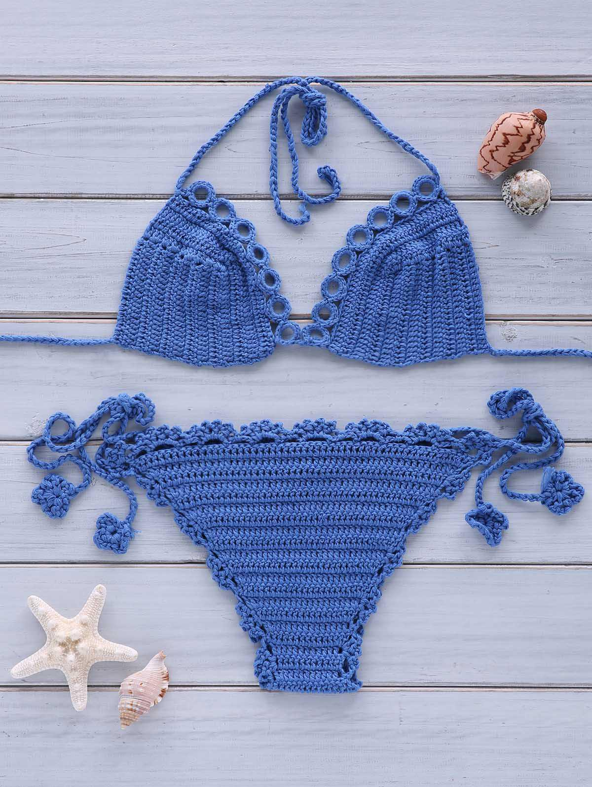 Sexy Women's Halterneck Crochet Solid Color Bikini Set - ROYAL BLUE ONE SIZE(FIT SIZE XS TO M)