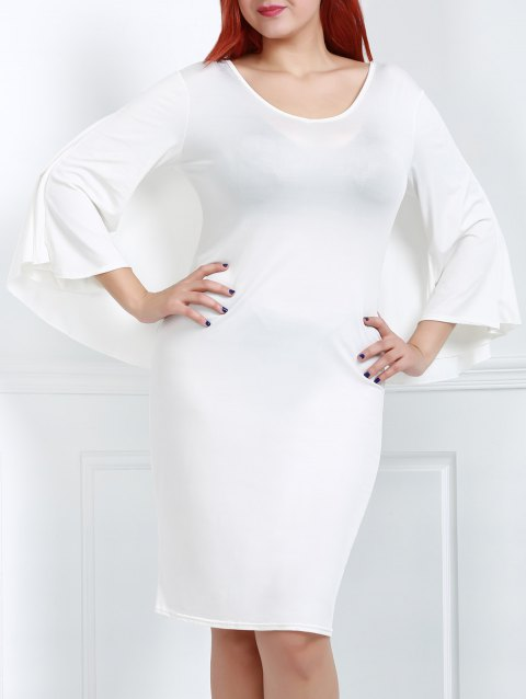 Trendy Solid Color V-Neck 3/4 Sleeve Bodycon Cape Dress For Women - WHITE L