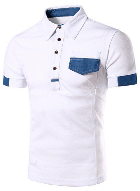 Denim Spliced Color Block Turn-down Collar Short Sleeves Men's Polo T-Shirt - WHITE XL