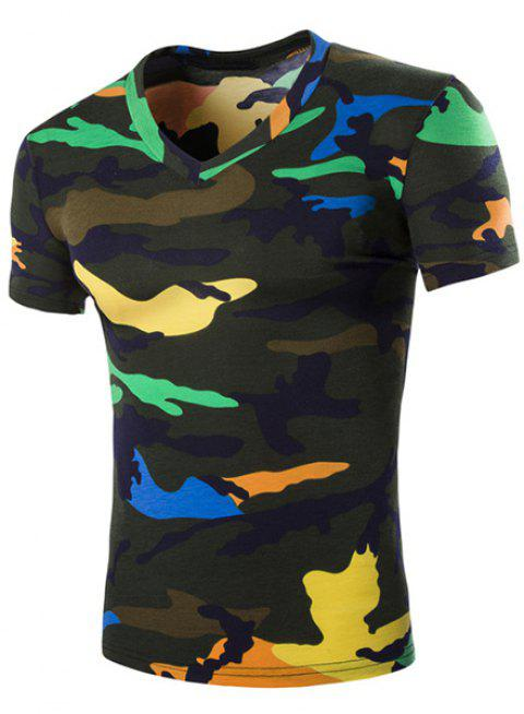 Camouflage Loose Fit Short Sleeves V-Neck Men's T-Shirt - BLACKISH GREEN L