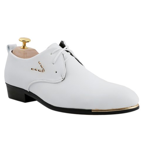 Stylish Pointed Toe and Lace-Up Design Formal Shoes For Men - WHITE 43
