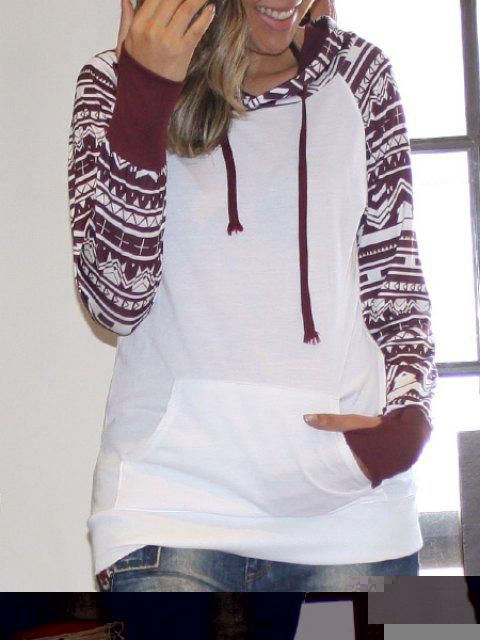 Women's Chic Long Sleeve Geometrical Hooded Color Block Hoodie - WHITE M