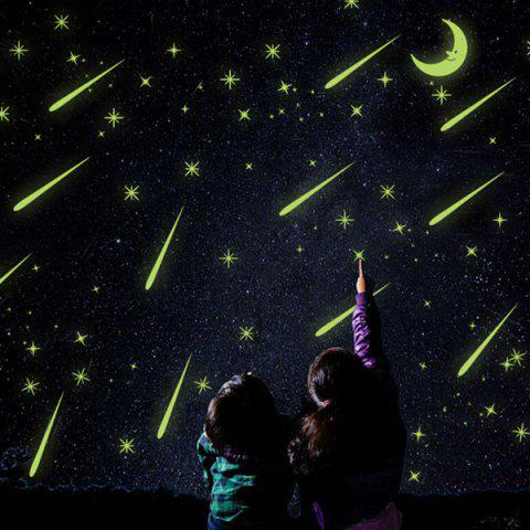 Stylish Meteor Shower Night Sky Ceiling Bedroom Decoration Glow Wall Stickers - COLORMIX