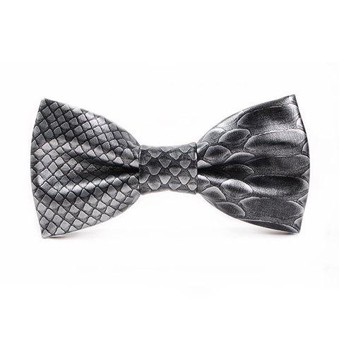 Stylish 3D Fish Scale Pattern Men's PU Bow Tie - BLACK GREY