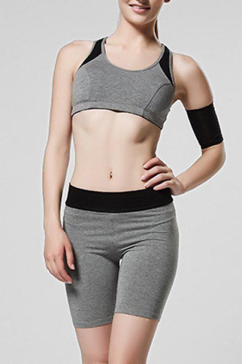 Sweet Women's Scoop Neck Hollow Out Skinny Gym Outfits - GRAY L