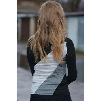 Casual Round Collar Long Sleeve Color Block Spliced Women's T-shirt - M M