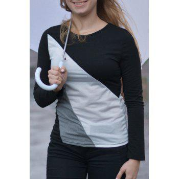 Casual Round Collar Long Sleeve Color Block Spliced Women's T-shirt - BLACK BLACK