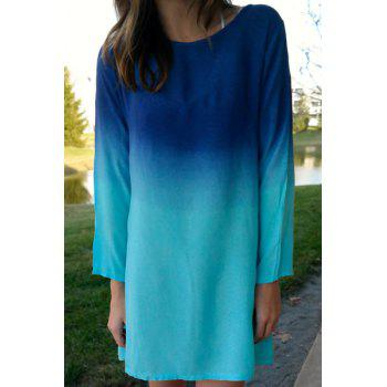 Stylish Long Sleeve Scoop Collar Ombre Color Women's Dress